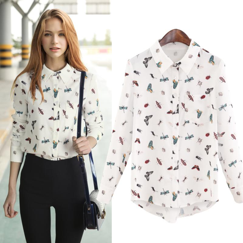 28fdeecbafbe86 2019 2015 New Autumn Mushroom Hair Elephant Print Chiffon Shirt Female Long  Sleeved Shirt Loose Straight Jacket Shirt From L751919806