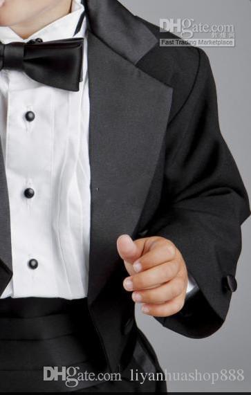 2016 Boy's Formal Wear Fashion new Baby Boys Black Tuxedo Dinner Suit Boy wedding suits Boy TuxedoJacket+Pants+Tie+Girdle