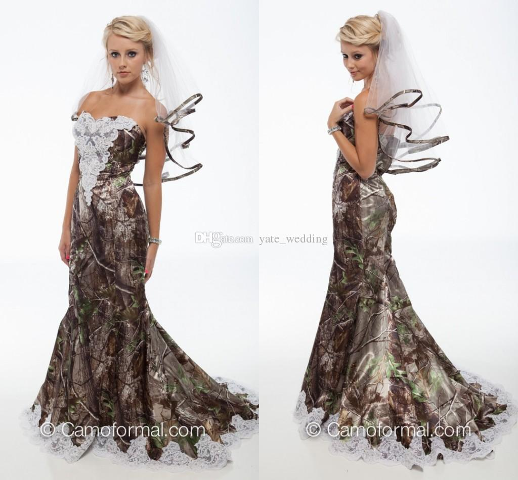 Classy Camo Wedding Ideas: 2018 Elegant Mermaid Camo Wedding Dresses Sweetheart