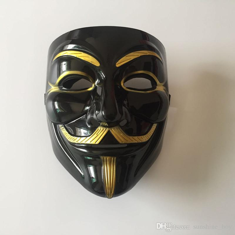 V for Vendetta White black Yellow Mask with Eyeliner Nostril Anonymous Guy Fawkes Fancy Adult Costume Halloween Mask