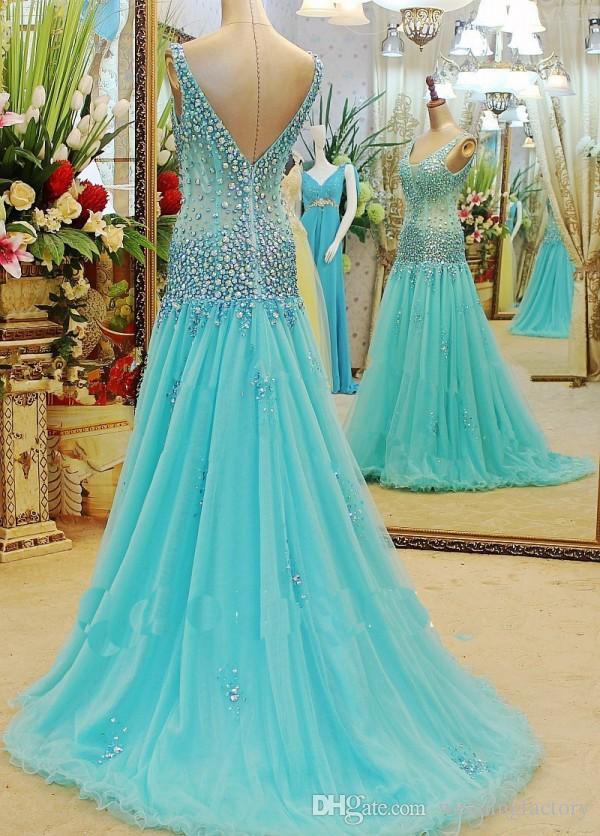 멋진 라이트 블루 댄스 파티 드레스 라인 딥 브이 넥 컬러 풀 한 크리스털 환상 탑 V 뒤로 스윕 기차 맞춤형 파티 드레스