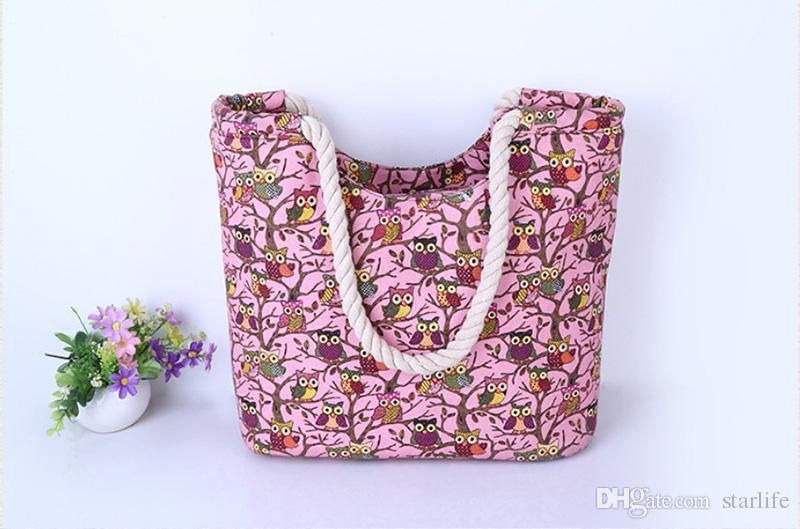 Cartoon Owl Printed Shoulder Bag Women Large Capacity Female Shopping Bag Canvas Handbag Summer Beach Bag Lady