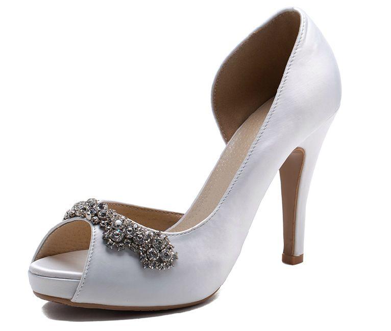 Darmowa Wysyłka Nowy Luksusowe Ręcznie Kości Słoniowej Rhinestone Buty Ślubne Wysokie Obcasy Buty Ślubne Peep Toe Girl Party Dress Buty