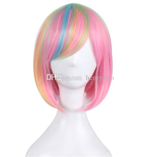 Cosplay Wig Short Animation Bob Hair Wigs Side Bang Wig for Pink Blue Colorful Women Synthetic Wig