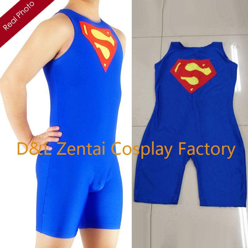 73aebbfd6cad4 2019 DHL Adult Men S Superman Wrestling Singlet Lycra Spandex Superhero  Catsuits Z33 From Cosplayexpert