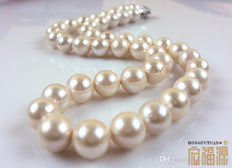 Бесплатная доставка Оптовая красивая жемчужное ожерелье Hong Fu Yuan 9-10 мм натуральный жемчуг ожерелье идеальный круг HFY