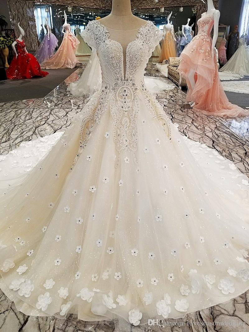 LS00270 luxury cap sleeve o-neck see through back patterns turkish wedding dress designers princess wedding dresses plus size