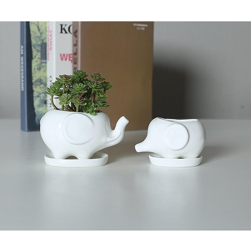 Of 2 Cute Elephant White Ceramic Flower Pot With Tray For Succulents