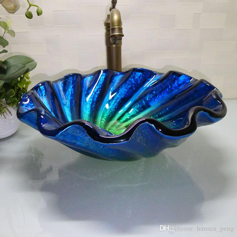 cloakroom glass sink handcraft counter top round Wash Hand basins bathroom vanity HX002