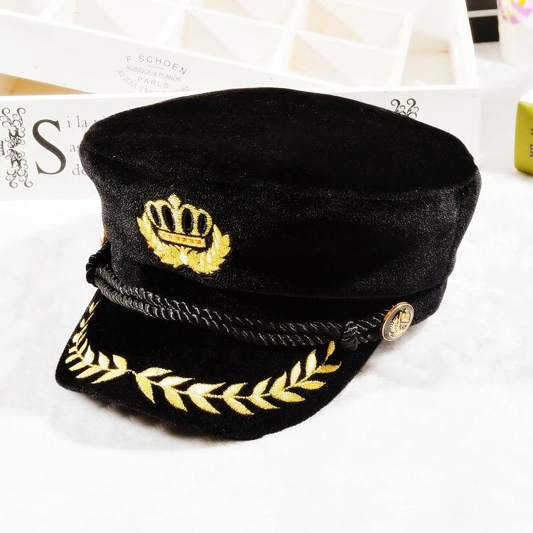 Velvet Captain Hat Navy Sailor Badge Embroidered Octagonal Cap Party  Cosplay Yachting Hats UK 2019 From Nbkingstar 59303c1aeee