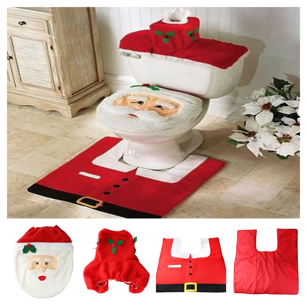 Zyt Christmas Santa Claus Toilet Tank Lid Cover Mats Seat Rug Bathroom Set Holiday New Year Supplies Baubles Decoration Party