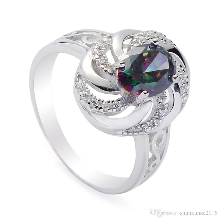 925 Sterling Silber Förderung Herz Set Ring / Ohrring / Anhänger Noble großzügige S-SSZ # 6 7 8 9 Rainbow Feuer Mystische Zirkonia Punk