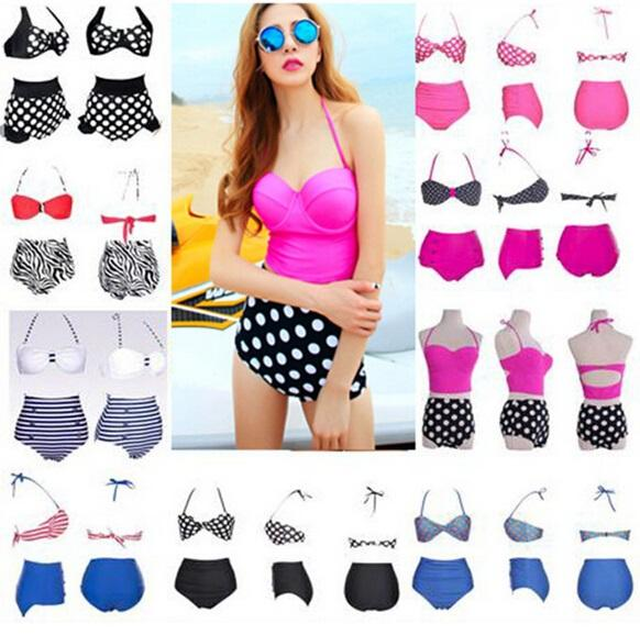 6b57a2a0f7 Fashion Cutest Retro Swimsuit Swimwear Vintage Pin Up High Waist Bikini Set  Polka Dot Button Bikini Bathing Suit in Stock Bandeau Push Up Bikini Sets  High ...