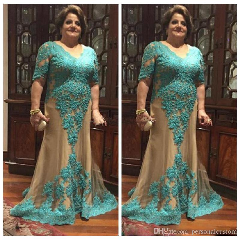 2018 Custom Plus Size Mother Of The Bride Dresses Half Sleeves V