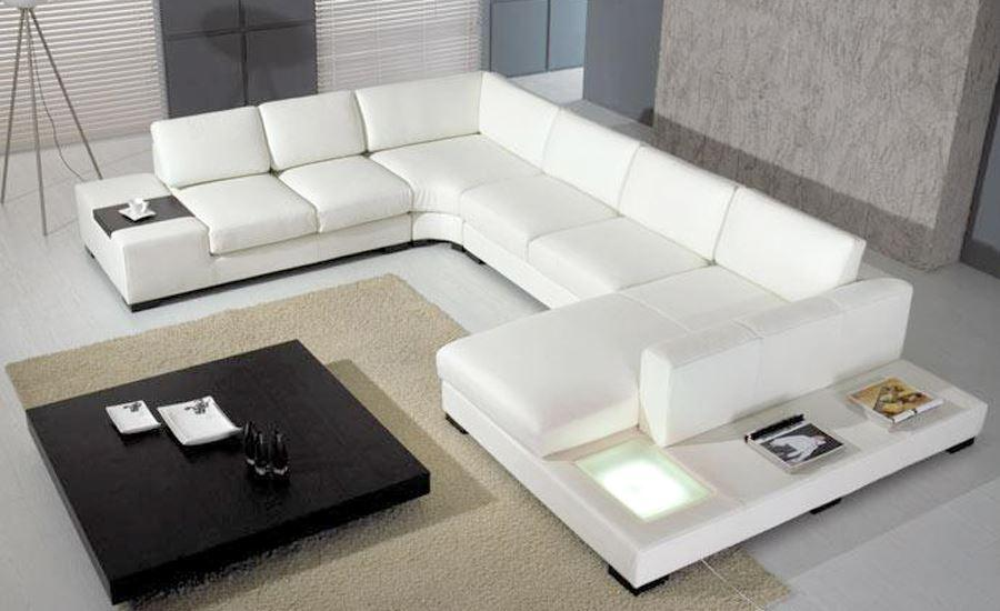 european laest designer sofa large size u shaped white leather sofa with led light coffee table living room furniture sofa
