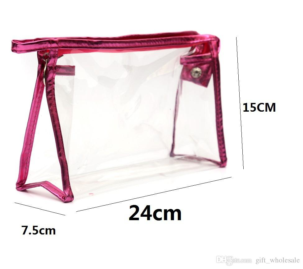 Clear PVC Waterproof Cosmetic Bags Womens Daily Transparent Travel Makeup Case Toiletry Wash Pouch