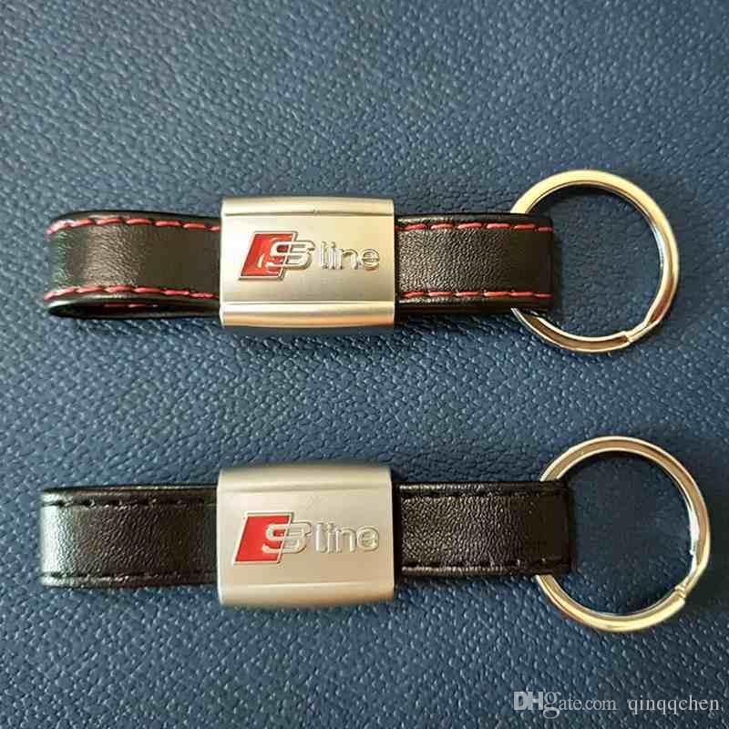 3D SLine Emblem Badge Sticker Black Red Line Leather for Audi 3 A4 A5 A6 A8 TT Q5 Q7 SLine Keychain Keyring Keyfob High quality