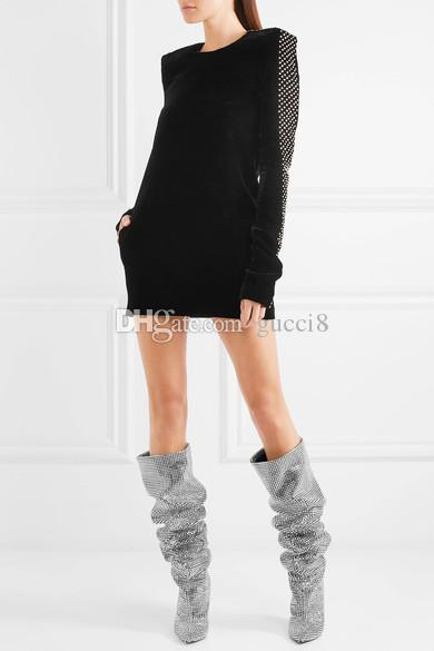Spike Heels Rhinestone Boots for women Over the knee Womens Knight Boot
