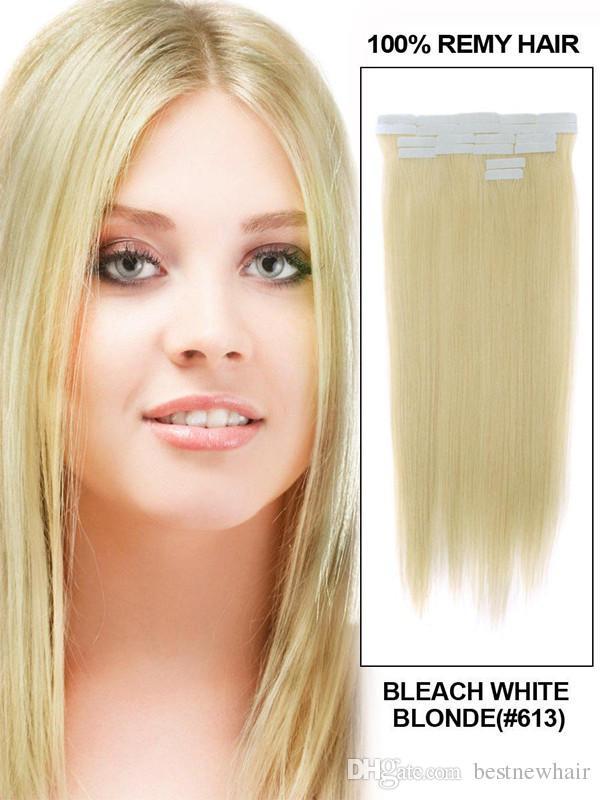 الشريط على الجلد 4CM عرض 10 '' - 26 '' 2.5G / الكمبيوتر / 100G مستقيم الجلد الشعر الهندي ريمي اللحمة الشريط في / على ملحقات الشعر الإنسان
