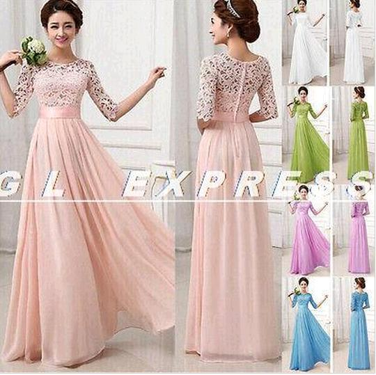 08edbc414f02 S 2015 Hot New Women Formal Lace Prom Ball Wedding Long Maxi Dress  Bridesmaid Gown Dresses