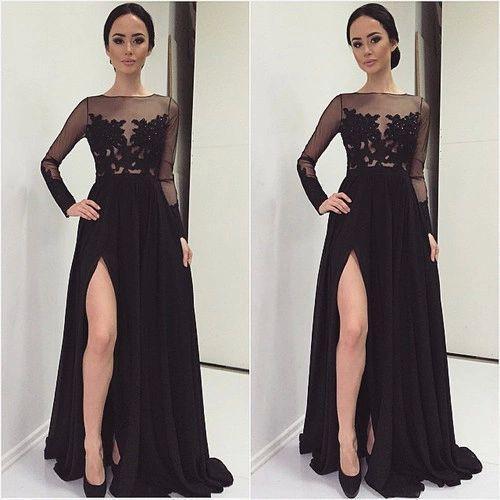 2016 Black Leg Slit Prom Dresses Look Through Illusion