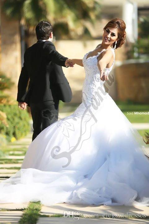 vestido de noiva 2019 Новый стиль с блестками свадебное платье из бисера Русалка Белые ремни в форме сердца Свадебные платья Без бретелек Пригородный шлейф