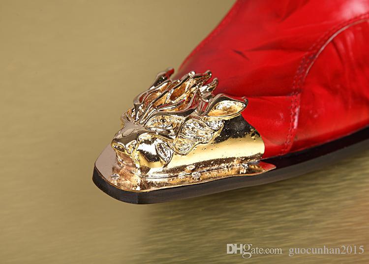 Custom-Order Metal Toe Bordado Dragão Moda Metade Botas Botas Pretas Masculinas Botas de Couro Genuíno Martin Motocicleta Patchwork