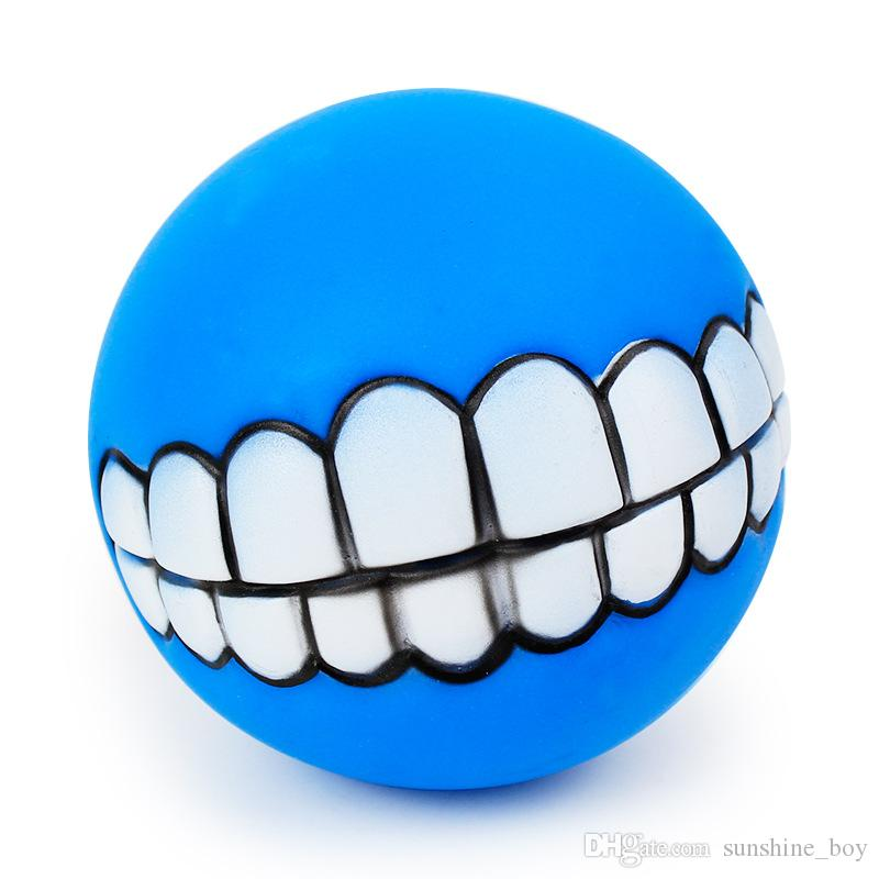 2018 Pet Puppy Dog Funny Ball Teeth Silicon Chew Sound Dogs Play New Funny Pets Dog Puppy Ball Teeth Silicon Toy Drop Shipping