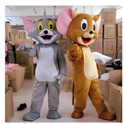 Freies Verschiffen Tom Katze und Jerry Maus Maskottchen Kostüm Outfit Chirstmas Erwachsene Größe Cartoon Kostüm