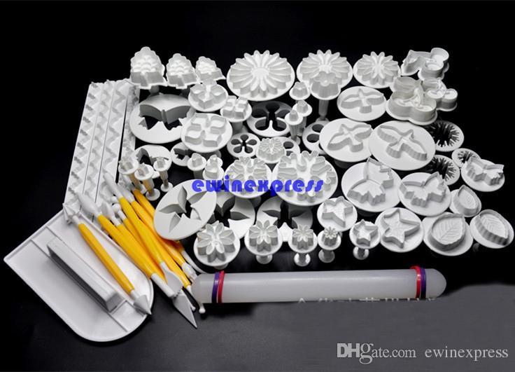 68 шт./компл. торт украшения инструменты набор Sugarcraft фондант печенье торт фрезы плунжер штамп + моделирование + гладкой + границы украшения инструменты
