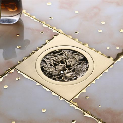 Luxurious Gold Plated Bathroom Floor Drain Flower Carving - Bathroom floor drain installation