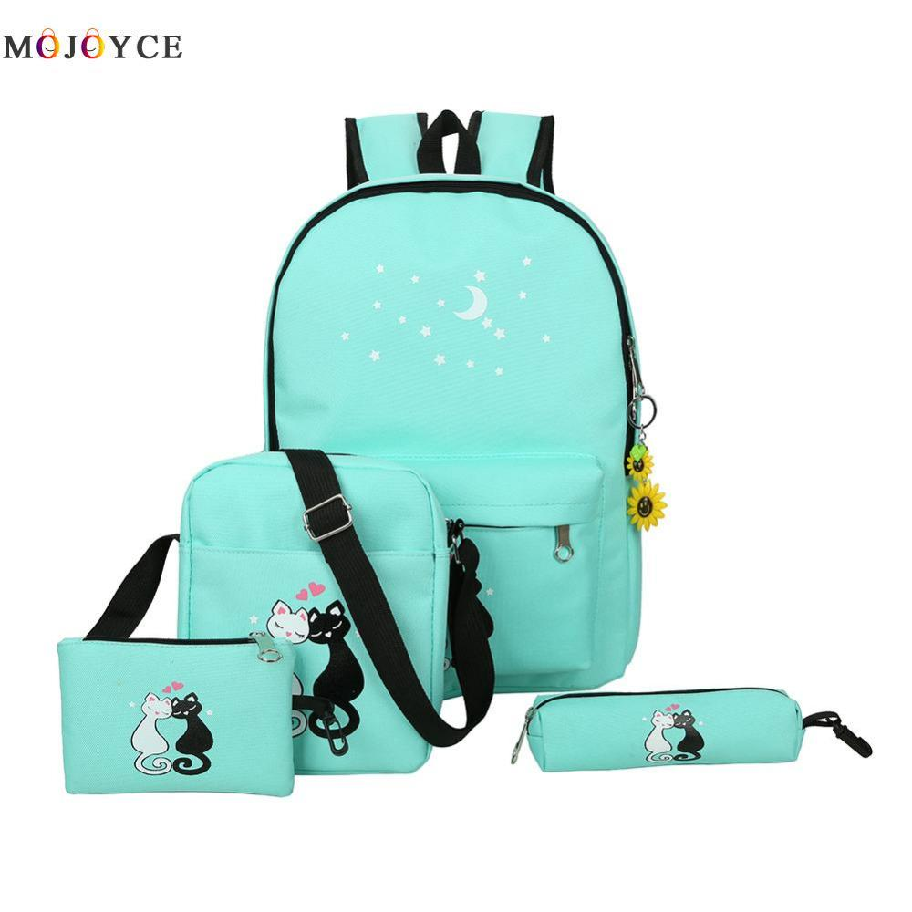 c3cb1a99b435 Famous Brand Women Backpacks Cute Cat School Bags For Teenage Girls  Printing Canvas Backpacks Ladies Shoulder Bags Online with  23.95 Piece on  Wwz19930114 s ...