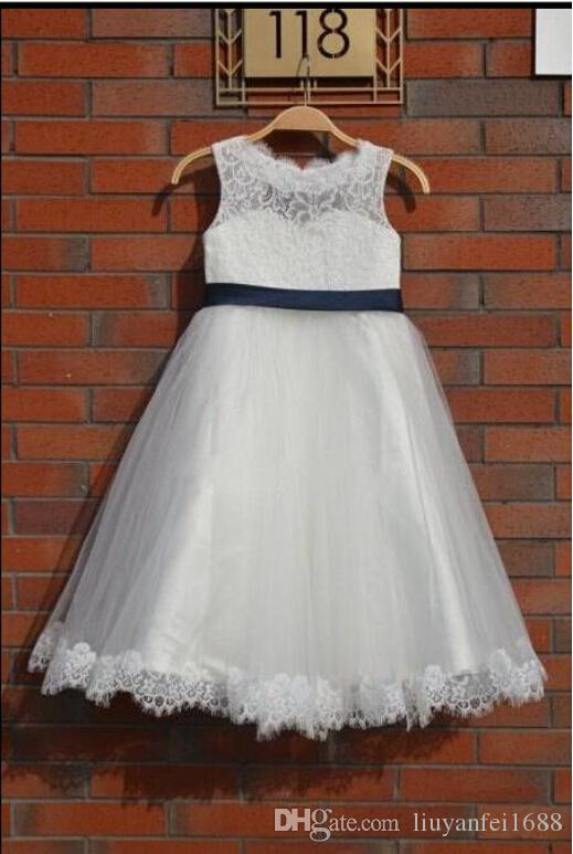 Lovely Ivory Lace Flower Girl Dress Wedding Baby Girls Dress Tulle Rustic Baby Flower Girl Dresses The Baptism Of the First Time Easter Clo