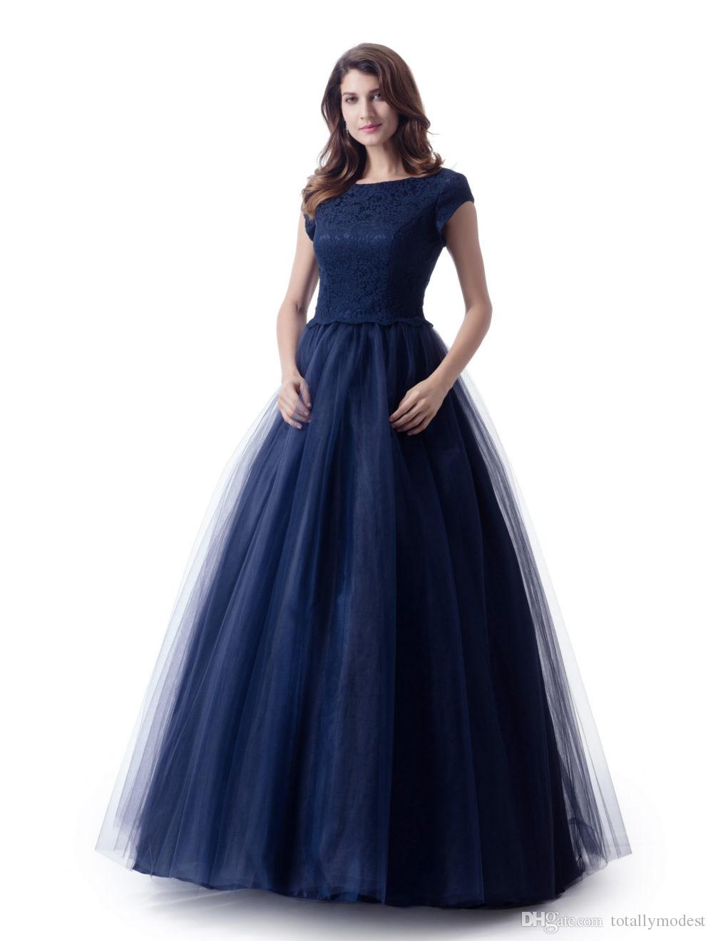 Long Modest Bridesmaid Dresses With Short Sleeves For Wedding Lace Top Tulle Skirt Puffy Women LDS Wedding Party Dress
