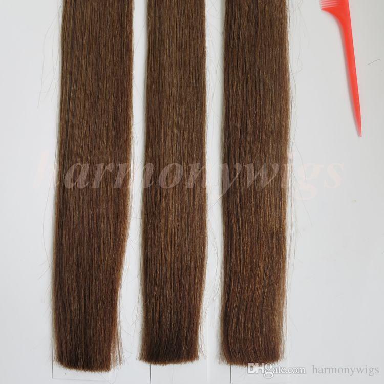 Pre скрепленная ручка я наклоняю бразильские выдвижения человеческих волос 100g 100Strands 18 20 22 24inch #6/средств коричневые индийские продукты волос
