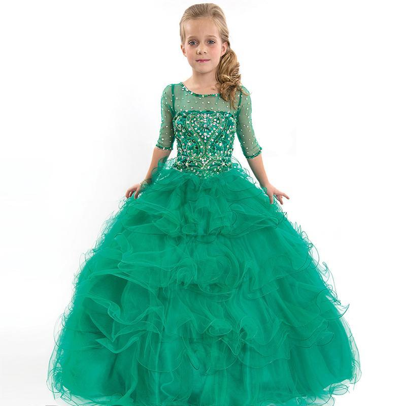 Hot Sale 2016 Kids Beauty Pageant Dresses For Junior Children Pageant Gowns Turquoise Flower Girl Dresses Peach Color Party Dress