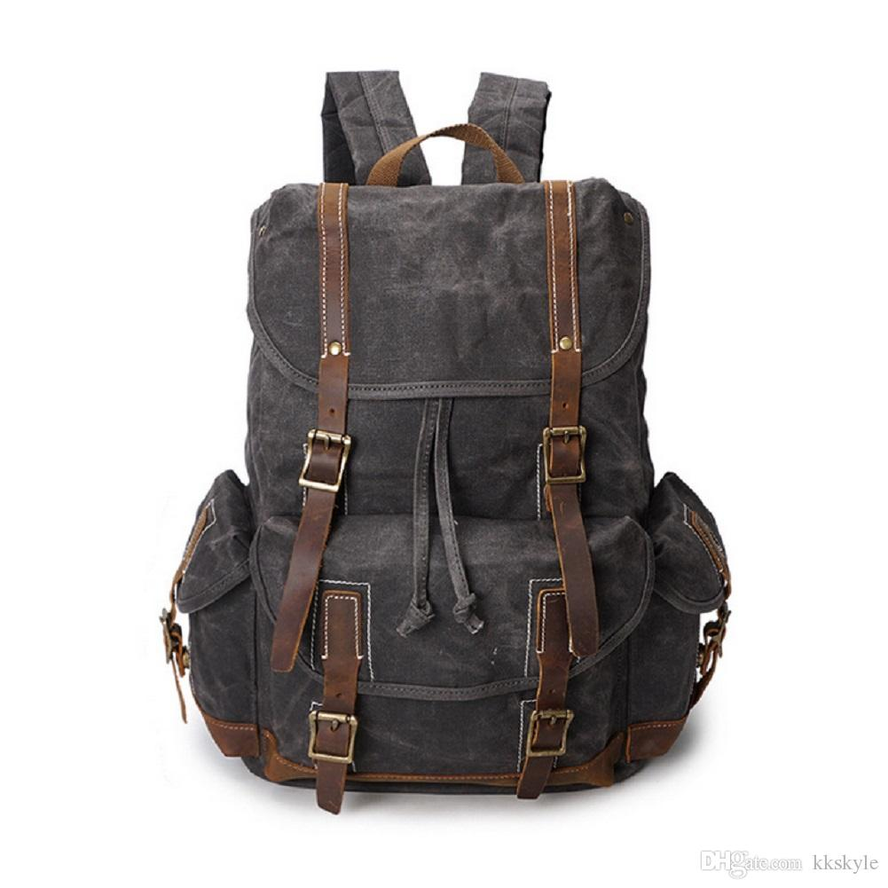Mochila impermeable de cuero de la lona de la vendimia Mochila escolar de la mochila de viaje de los deportes de la lona 15.6 pulgadas
