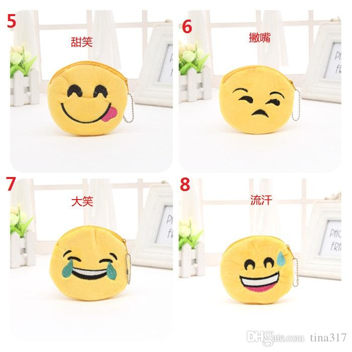 Emoji Coin Purses QQ Expression Coin Purses Cute Plush change bag key bag keychain pendant plush toys Zero wallets 1793