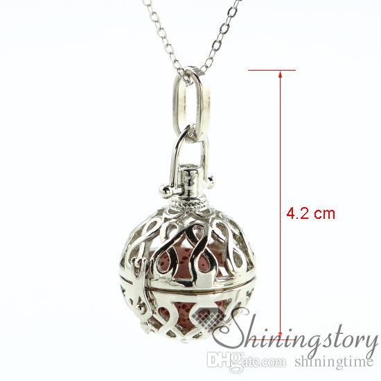 8 Collar de aceite esencial de calado joyería de aromaterapia joyería al por mayor medallones de aromaterapia colgante lava volcánica piedra metal
