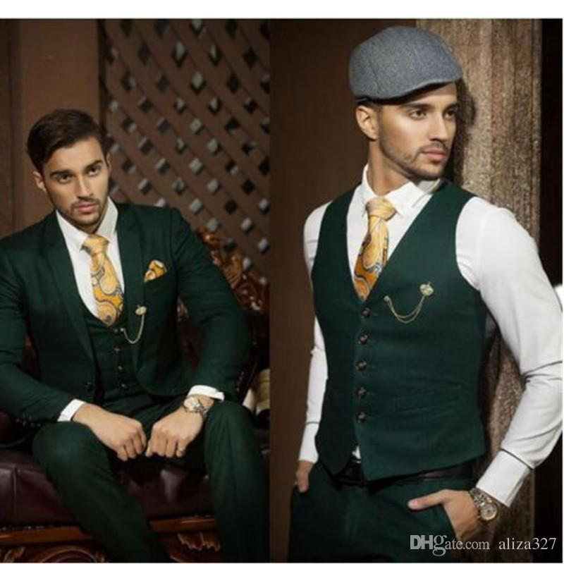 2018 New Wedding Tuxedos Custom Made Dark Green Slim Fit Men Suits ...