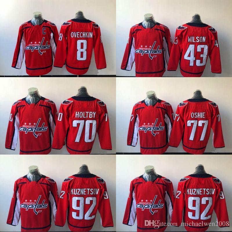 reputable site 5248b 1bc89 2017-2018 Washington Capitals Jersey 92 Evgeny Kuznetsov 77 T.J. Oshie 70  Braden Holtby 43 Tom Wilson 8 Alex Ovechkin Hockey Jerseys Cheap
