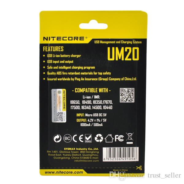 Authentic Nitecore UM10 UM20 Universal Intellicharger LCD Display E Cigarettes Charger for 18650 18350 18500 14500 Li-on IMR Battery