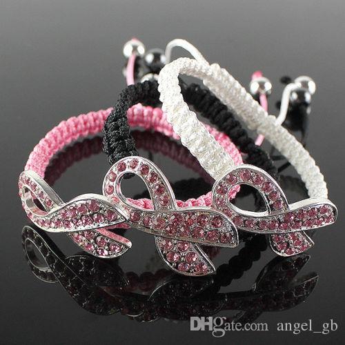 Moda Pink Crystal Ribbon Jewelry Conciencia del cáncer de mama Macrame Pulsera ajustable Charm Cord - Negro, Blanco, Rosa