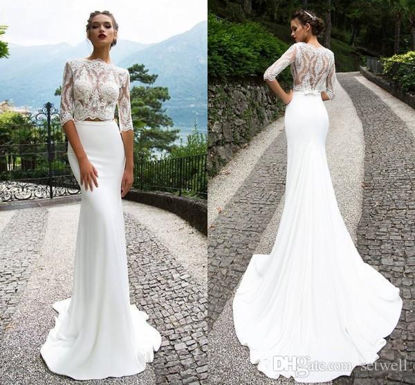 Milla Nova Weiße Spitze Zwei Stücke Brautkleider Halbärmeln Meerjungfrau Bateau Brautkleider Sweep Zug Hochzeitskleid