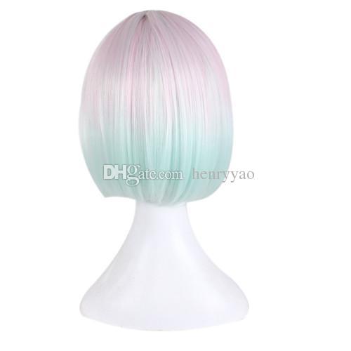 Lady Cosplay Court Animation Bob Cheveux Ombre Rose Bleu Côté Bang Coloré Femmes Perruque Synthétique Résistant À La Chaleur