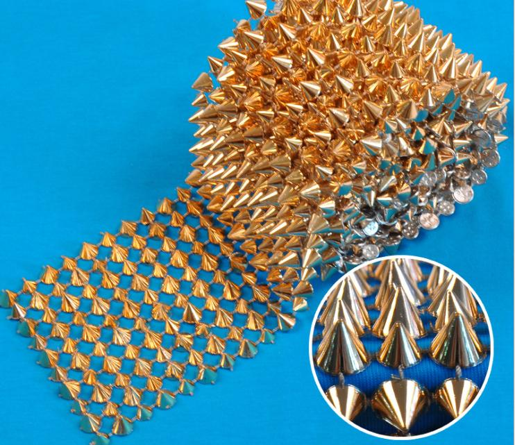 1 Yards 10 Rows Gold Cone Rivet Bullet Stud Spike Punk Mesh Wrap Roll Ribbon DIY