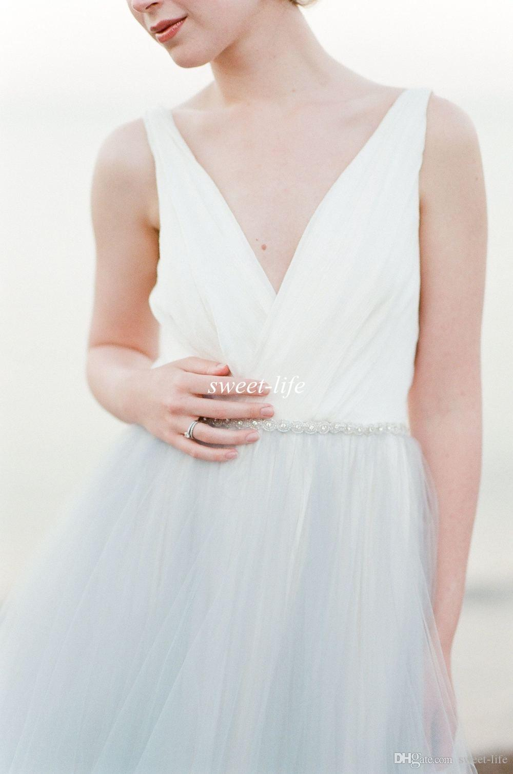 2016 Summer Beach Wedding Dresses Backless Blue and White Tulle Crystal Belt Deep V Neck Cheap Plus Size Sexy Bohemia Maternity Bridal Gowns