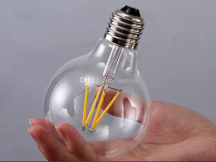 free ship E27 G95 LED Bulb lamp Dimmable 4W 6W 8W 10W LED Filament bulbs Warm white 360 Degree clear glass Super bright Energy saving 4pcs