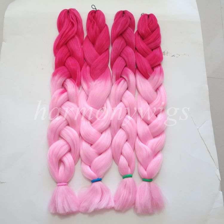 Kanekalon Jumbo Örgüler Büküm Saç Katlanmış 32 inç 165 gram Ombre iki renk xpression sentetik Örgü saç uzantıları