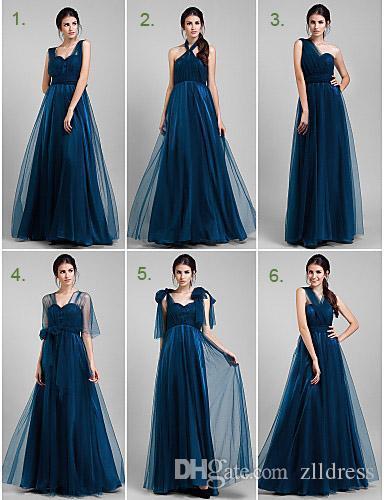 Vestidos de dama en azul marino